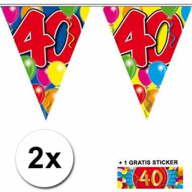 2 vlaggenlijnen 40 jaar met gratis sticker