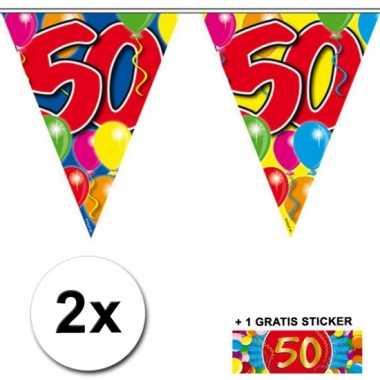 2 vlaggenlijnen 50 jaar met gratis sticker