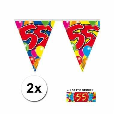 2 vlaggenlijnen 55 jaar met gratis sticker
