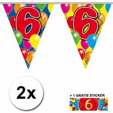 2 vlaggenlijnen 6 jaar met gratis sticker
