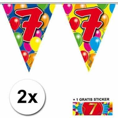 2 vlaggenlijnen 7 jaar met gratis sticker