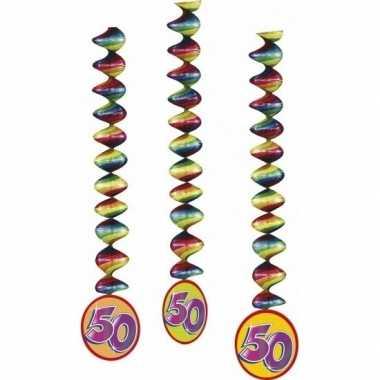 2 x 3 stuks versiering 50 jaar feest spiralen