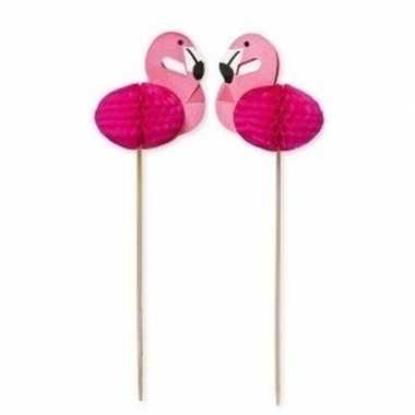 24x flamingo thema cocktailprikkers 15 cm