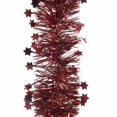 2x donker rode kerstversiering folie slinger met ster 270 cm