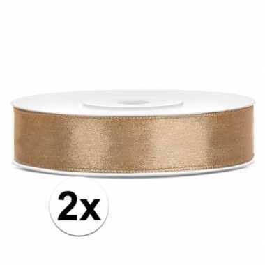 2x gouden kadolinten satijn 12 mm