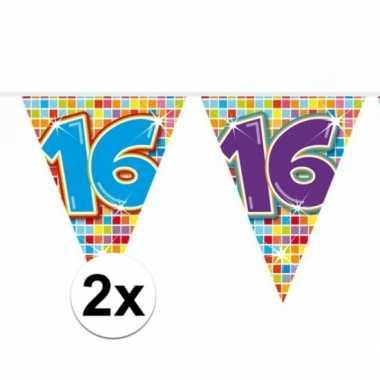 2x mini vlaggenlijn / slinger verjaardag versiering 16 jaar