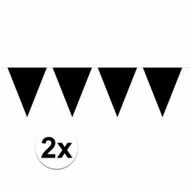 2x mini vlaggenlijn / slinger versiering zwart