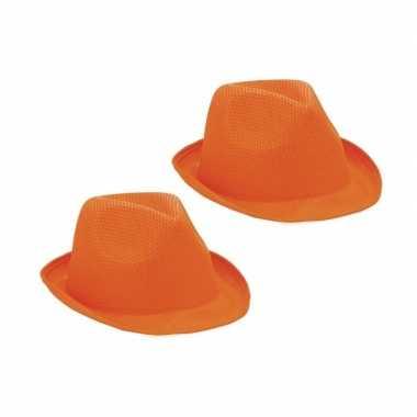 2x oranje trilby hoeden