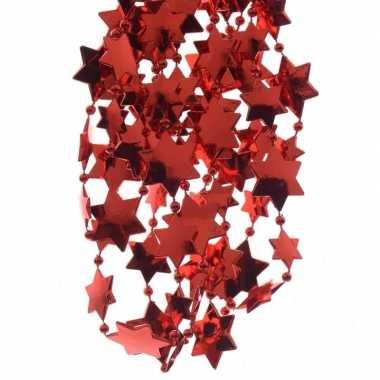 2x rode kerstversiering ster kralenslinger 270cm