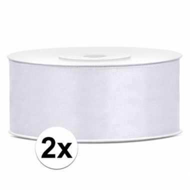 2x rollen bruiloft deco lint wit 25 mm en 25 meter