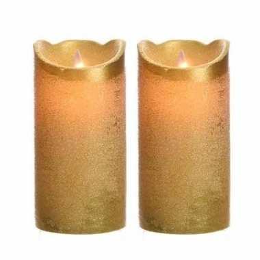2x stuks gouden led kaarsen flakkerend 15 cm