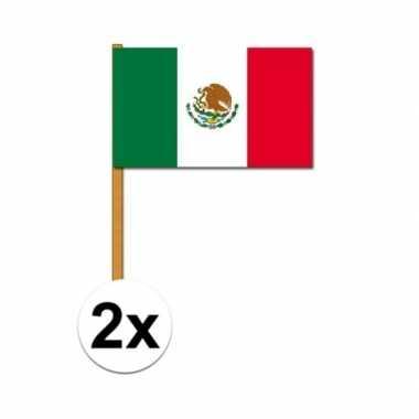 2x stuks handvlaggetjes mexico