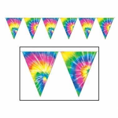 2x stuks hippie feest versiering vlaggetjes