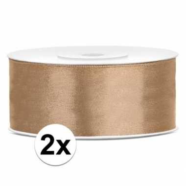 2x stuks satijn sierlinten goud 25 mm