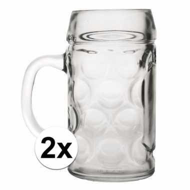 2x voordelige grote bier glazen 1 liter