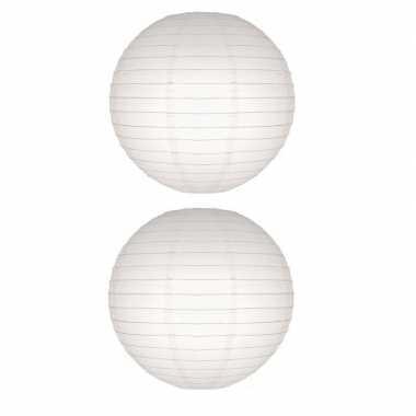 2x witte bol lampionnen 50 cm