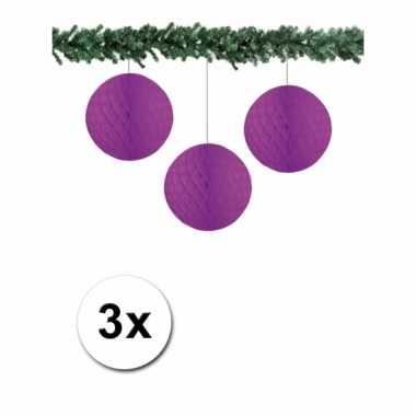 3 papieren bruiloft deco ballen paars 10 cm