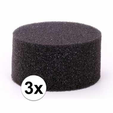 3 stuks zwarte schmink / make up sponsjes rond