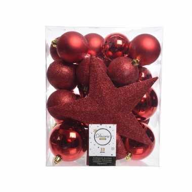 33x rode kerstballen met ster piek 5-6-8 cm kunststof mix