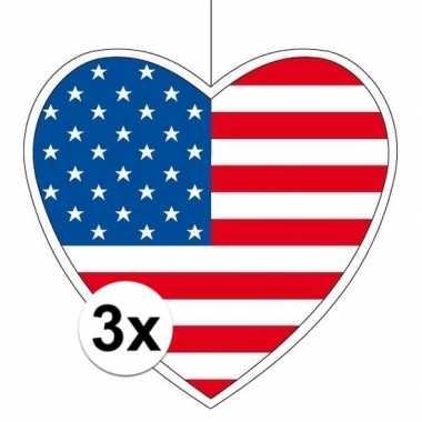 3x amerika hangdecoratie harten 28 cm