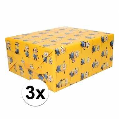 3x inpakpapier minions geel 200 x 70 cm op rol