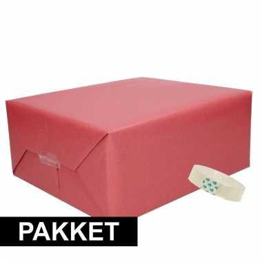 3x kraft cadeaupapier met rolletje plakband