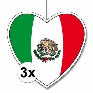 3x mexico hangdecoratie harten 28 cm