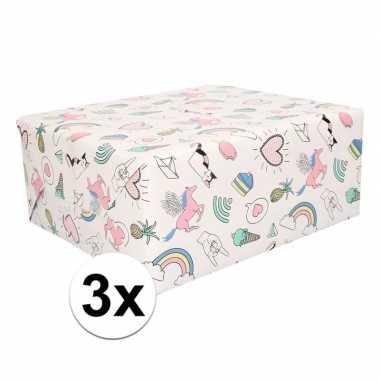 3x rollen eenhoorn cadeaupapier pastelkleur 50 x 500 cm