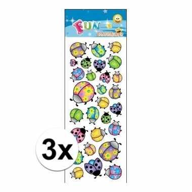 3x stickervellen lieveheersbeestjes