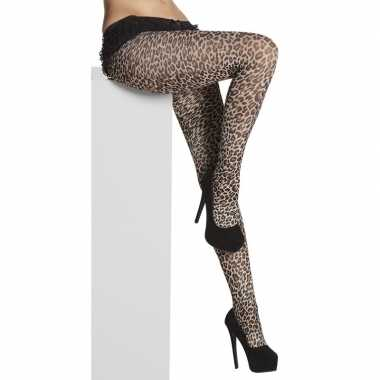 40 denier panty luipaard/panter print voor dames