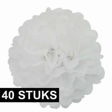 40x witte bloemen pompoms 35 cm