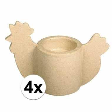 4x papier mache kip eierdop