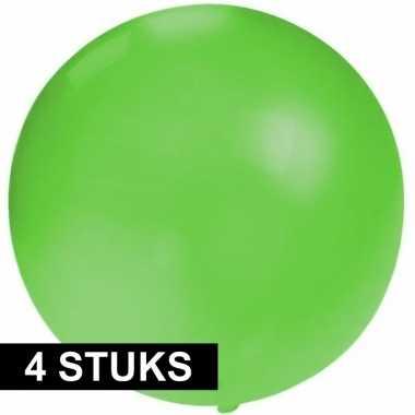4x ronde ballon groen 60 cm voor helium of lucht