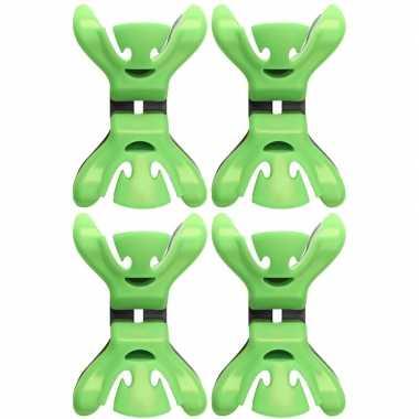 4x slingers/decoratie ophangen slingerklemmen groen