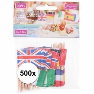 500x europese landen vlaggetjes cocktailprikkers