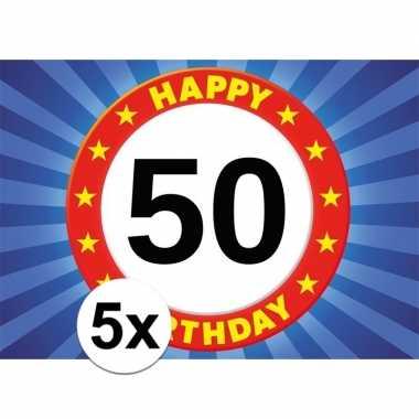 5x 50 jaar stopbord thema stickers 7,5 x 10,5 cm