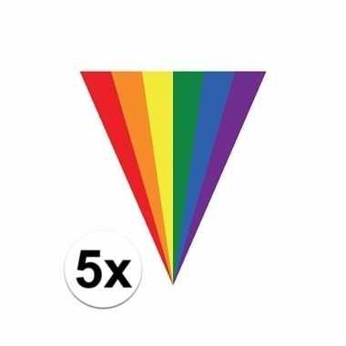 5x gay pride regenboog slingers vlaggenlijnen 5 meter