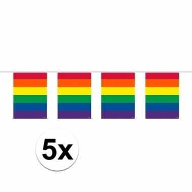5x gay pride regenboog vlaggenlijnen 10 meter