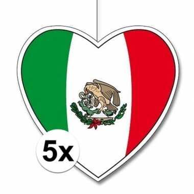 5x mexico hangdecoratie harten 28 cm