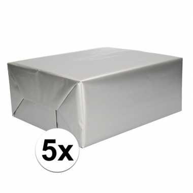 5x rol cadeaupapier zilver 70 x 200 cm