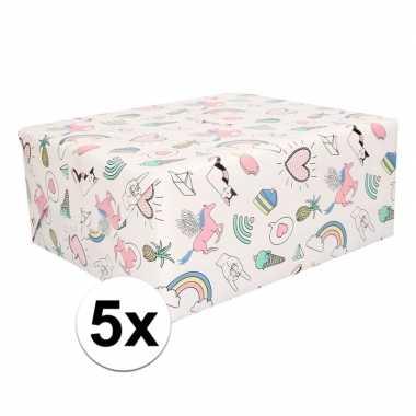 5x rollen eenhoorn cadeaupapier pastelkleur 50 x 500 cm