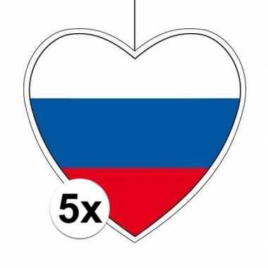 5x rusland hangdecoratie harten 28 cm