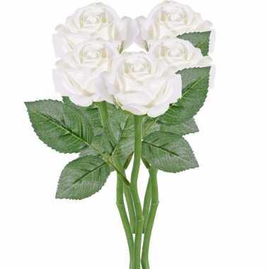5x witte rozen/roos kunstbloemen 27 cm