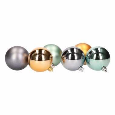 6 kerstballen glanzend en mat groen