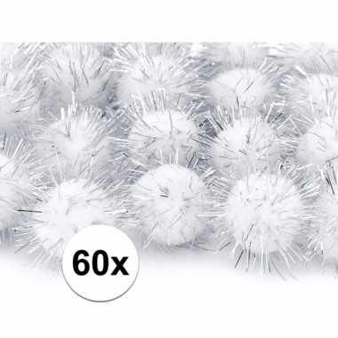 60x pluche pompoms witte 20 mm