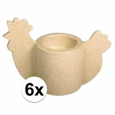 6x papier mache kip eierdop