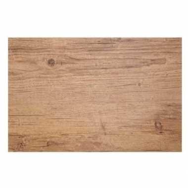 6x placemats lichtbruine hout print 45 cm