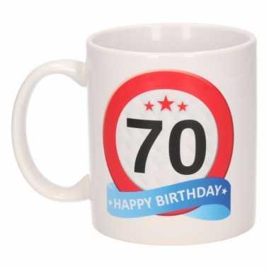 70 jaar cadeau beker 300 ml verkeersbord thema