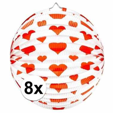 8x bol lampion hart rond 36 cm
