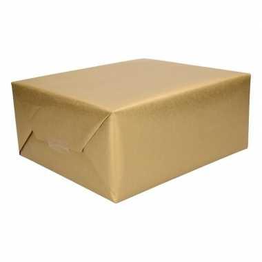 8x cadeaupapier/inpakpapier goud 500 x 50 cm op rol